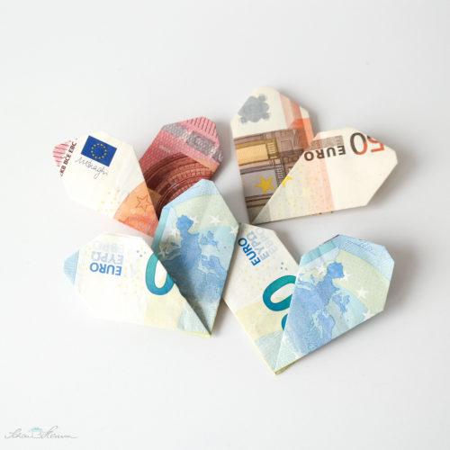 Geldgeschenk, Faltgeld, Herzen - SchönHerum
