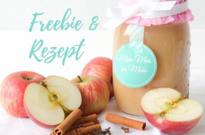 Freebie, Rezept, Geschenkverpackung Apfelmus