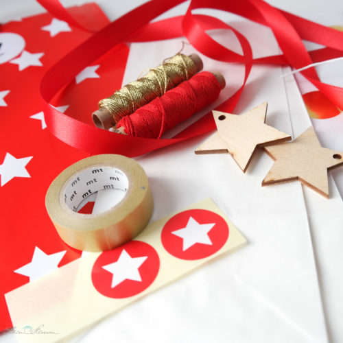 Verpackungsmaterial für einen Adventskalender, Sterne