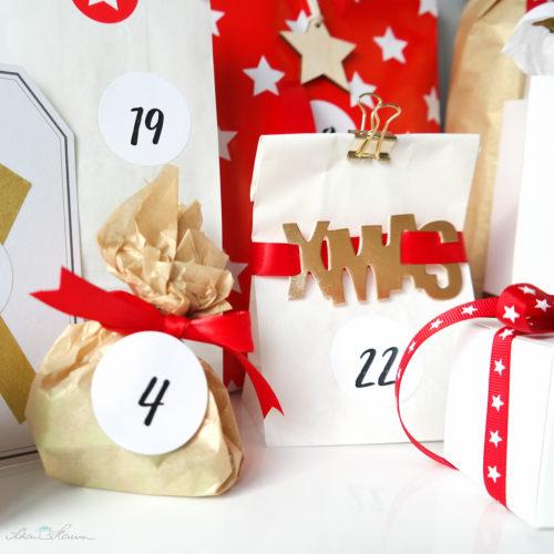 Adventskalender klassisch, rot, gold, weiss