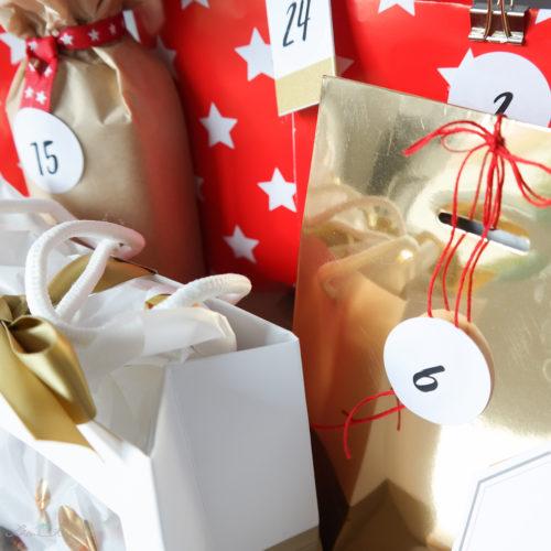 Adventskalender, rot, gold, weiss, Geschenkverpackungen