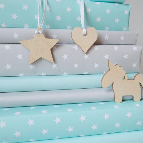 Geschenkpapier, mimt, grau, Holzanhänger, Geschenkanhänger