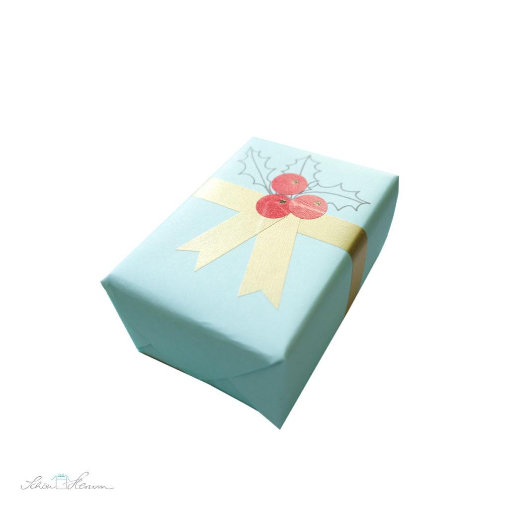 Geschenkpapier selber gestalten, mintgrün, gold, rot