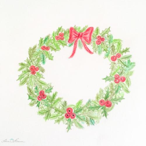 Zeichnung Weihnachtskranz