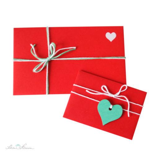 Liebesbriefe rot, weiß, mint