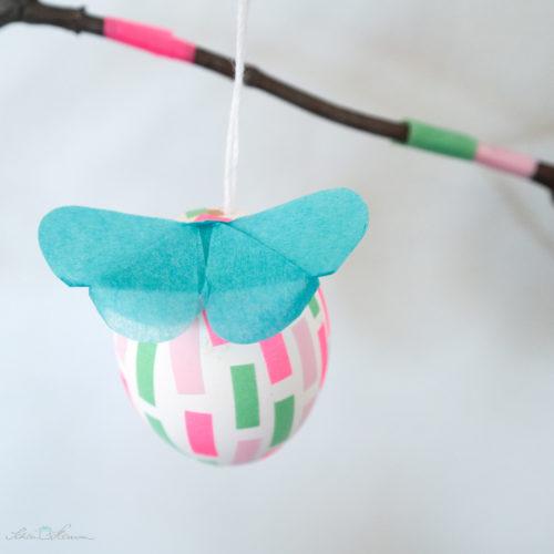 Masking Tape Osterei mit Schmetterling