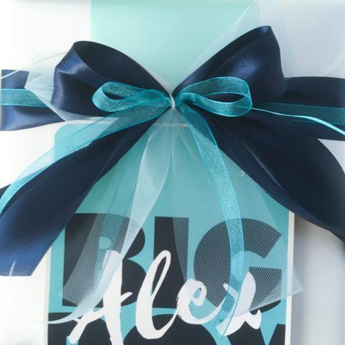 Geldgeschenk zur Jugendweihe mit Schleife, türkis, blau