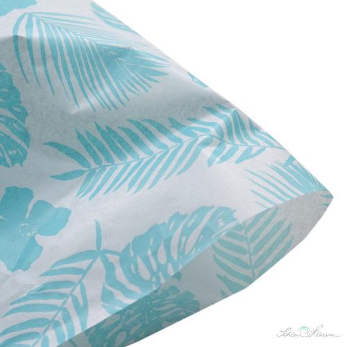 Seidenpapier, Tropenfeeling, Monstera, Palmenblätter, aquamarin