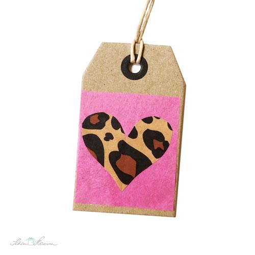 Geschenkanhänger, pink und braun mit Herz