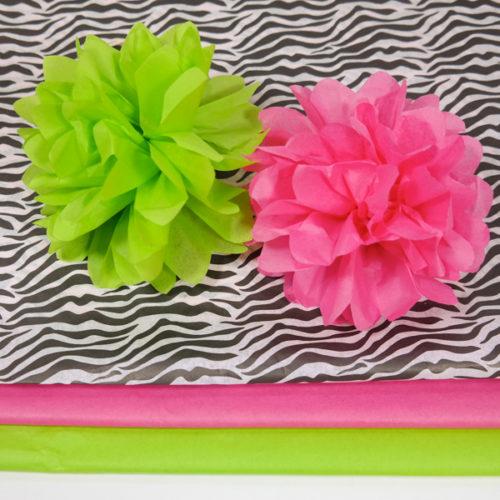 Seidenpapier Pompoms Limettengrün, Flamingopink