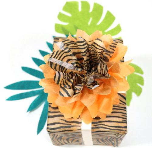 Geschenkverpackung, Seidenpapier, Tigerparty