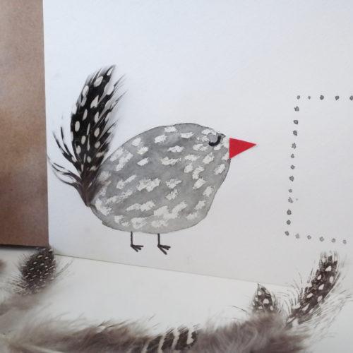 DIY Perlhuhn zeichnen mit Wachs. Perlhuhnfedern.