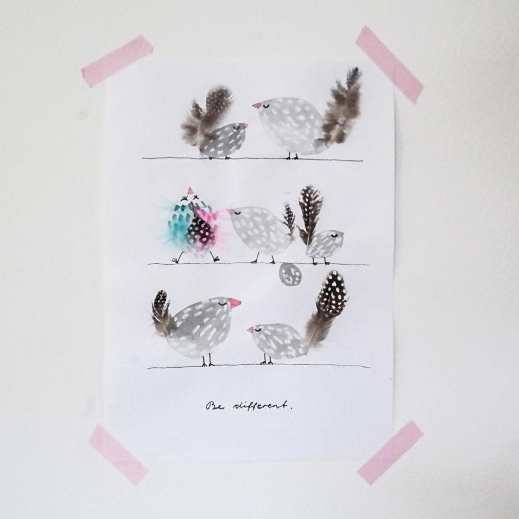 Perlhühner. Be different. Zeichnung Stefanie Guckau.