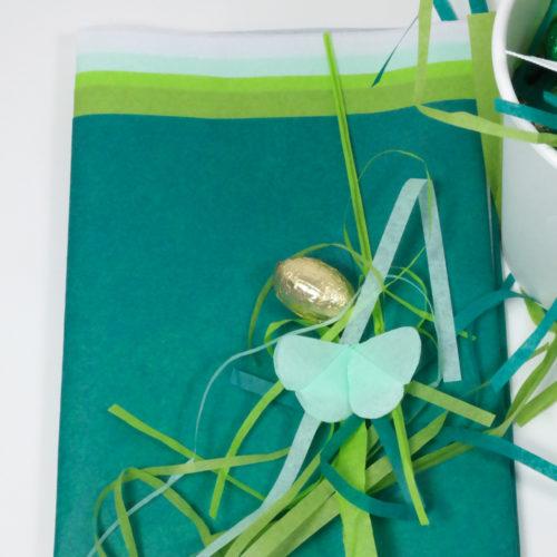 Seidenpapier-Set grün mit Schmetterling, Ostergras zu Ostern