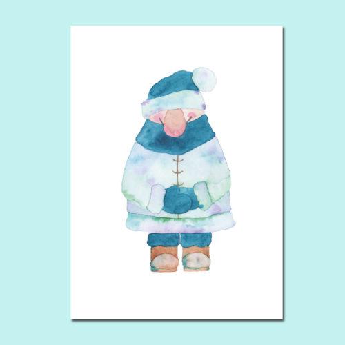 Postkarte Wichtel Blau