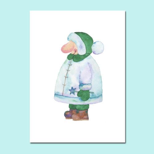 Postkarte Wichtel Grün